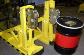 Liftomatic FTA forklift attachment handles steel drums